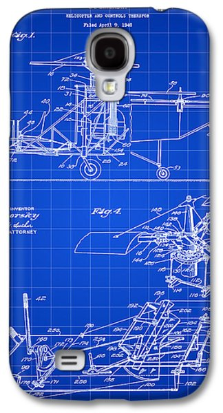 Parchment Galaxy S4 Cases - Helicopter Patent 1940 - Blue Galaxy S4 Case by Stephen Younts