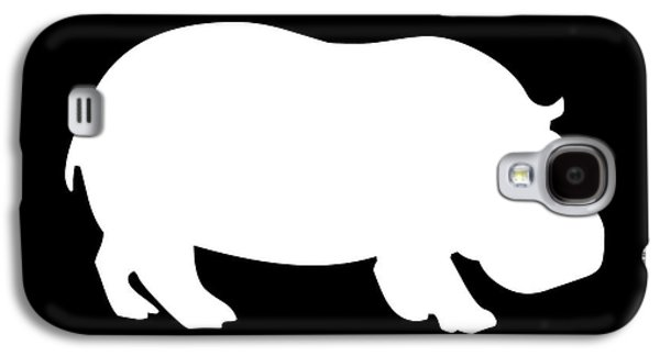 Hippopotamus Digital Galaxy S4 Cases - Hippo in Black and White Galaxy S4 Case by Jackie Farnsworth