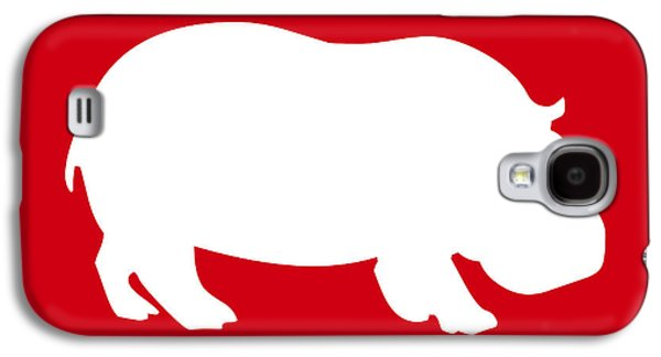 Hippopotamus Digital Art Galaxy S4 Cases - Hippo in Red and White Galaxy S4 Case by Jackie Farnsworth
