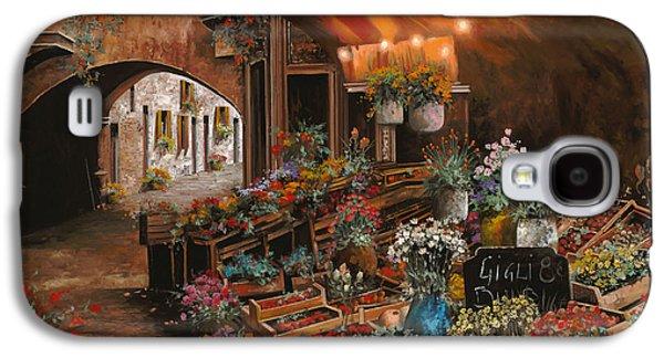 Vase Paintings Galaxy S4 Cases - Il Mercato Dei Fiori Galaxy S4 Case by Guido Borelli
