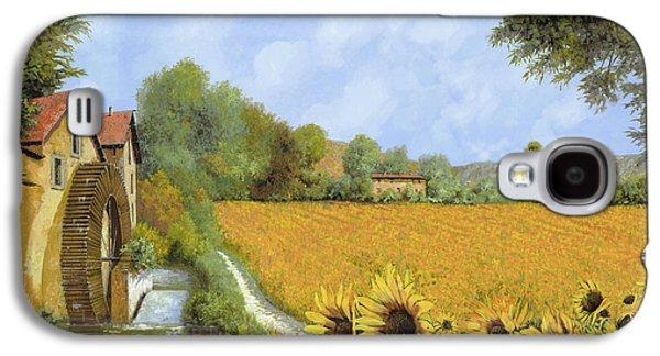 Sunflower Fields Galaxy S4 Cases - Il Mulino E I Girasoli Galaxy S4 Case by Guido Borelli