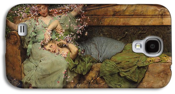 Woman In A Dress Galaxy S4 Cases - In a Rose Garden Galaxy S4 Case by Sir Lawrence Alma Tadema