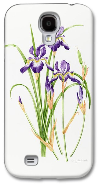 Flower Still Life Prints Galaxy S4 Cases - Iris Sibirica Galaxy S4 Case by Sally Crosthwaite
