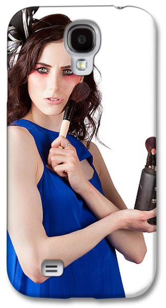 Isolated Makeup Artist Holding Blush Powder Brush Galaxy S4 Case by Jorgo Photography - Wall Art Gallery
