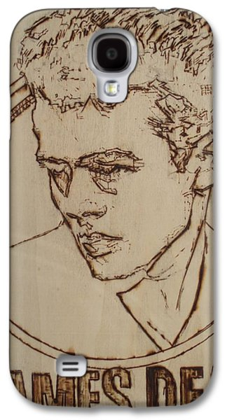 Celebrities Pyrography Galaxy S4 Cases - James Dean Galaxy S4 Case by Sean Connolly