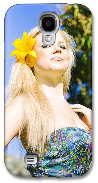 Strapless Dress Galaxy S4 Cases - Jaunty Beauty With Flower Galaxy S4 Case by Ryan Jorgensen