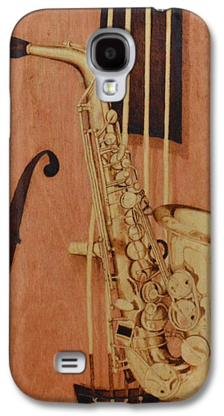 Music Pyrography Galaxy S4 Cases - Jazz is the Color Galaxy S4 Case by Laurisa Borlovan