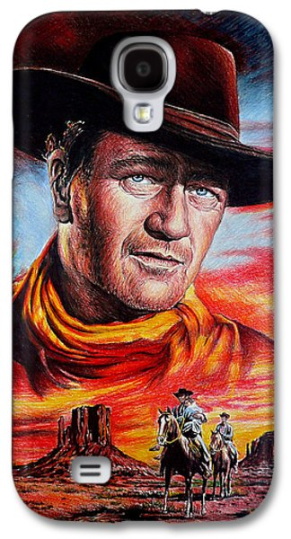 Icons Drawings Galaxy S4 Cases - John Wayne Searching Galaxy S4 Case by Andrew Read