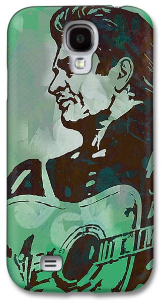 Author Mixed Media Galaxy S4 Cases - Johnny Cash - Stylised Etching Pop Art Poster Galaxy S4 Case by Kim Wang