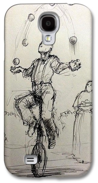 Juggling Drawings Galaxy S4 Cases - Juggler Galaxy S4 Case by H James Hoff