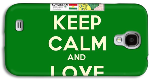 Patriotism Paintings Galaxy S4 Cases - Keep Calm-And Love Kurdistan Galaxy S4 Case by Celestial Images