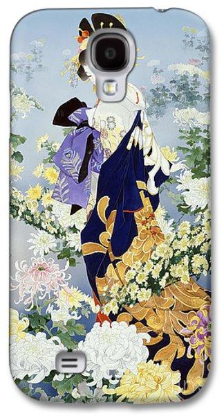 Purple Robe Galaxy S4 Cases - Kiku Galaxy S4 Case by Haruyo Morita