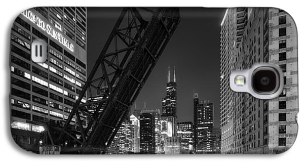 City Scape Galaxy S4 Cases - Kinzie Street railroad bridge at night in Black and White Galaxy S4 Case by Sebastian Musial