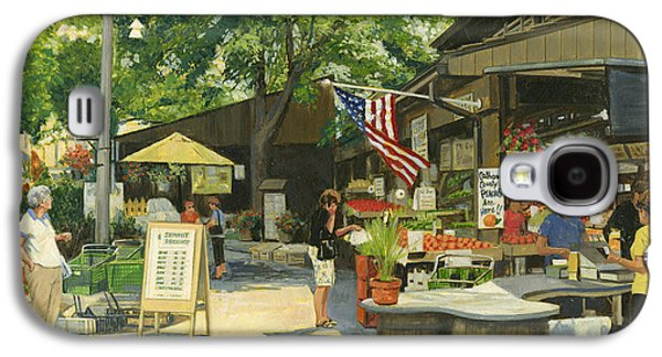 4th July Paintings Galaxy S4 Cases - Kirkwood Farmers Market American Flag Galaxy S4 Case by Don  Langeneckert