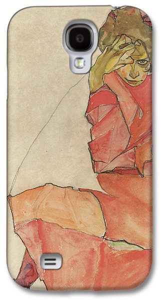 Austria Drawings Galaxy S4 Cases - Kneeling Female in Orange-Red Dress Galaxy S4 Case by Celestial Images