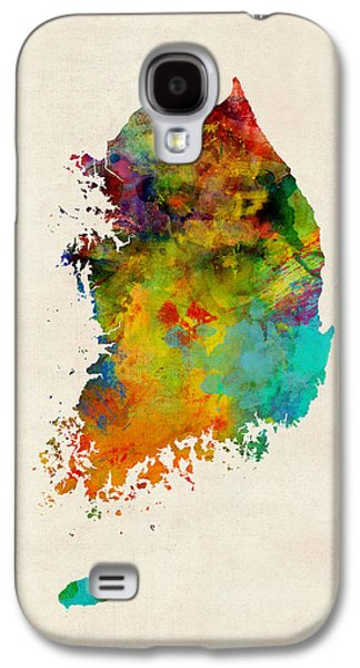 Maps Galaxy S4 Cases - Korea Watercolor Map Galaxy S4 Case by Michael Tompsett