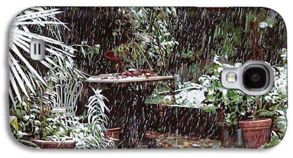 Snow Paintings Galaxy S4 Cases - La Neve Sotto La Topia Galaxy S4 Case by Guido Borelli
