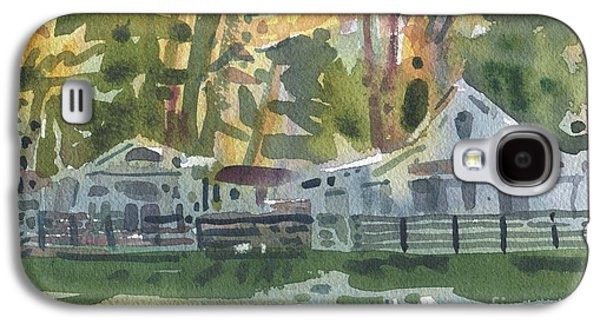 Cabin Paintings Galaxy S4 Cases - Lake Cabins Galaxy S4 Case by Donald Maier