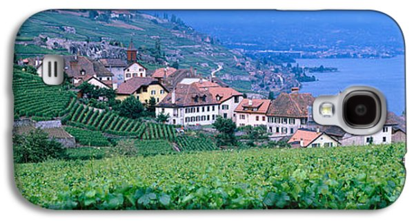 Pastoral Vineyard Photographs Galaxy S4 Cases - Lake Of Geneva, Vineyards, Rivaz Galaxy S4 Case by Panoramic Images