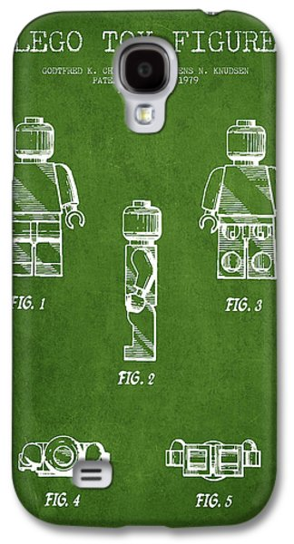 Lego Digital Art Galaxy S4 Cases - Lego Toy Figure Patent - Green Galaxy S4 Case by Aged Pixel