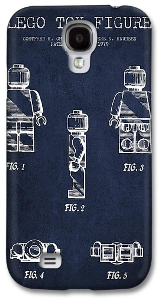 Lego Digital Art Galaxy S4 Cases - Lego Toy Figure Patent - Navy Blue Galaxy S4 Case by Aged Pixel