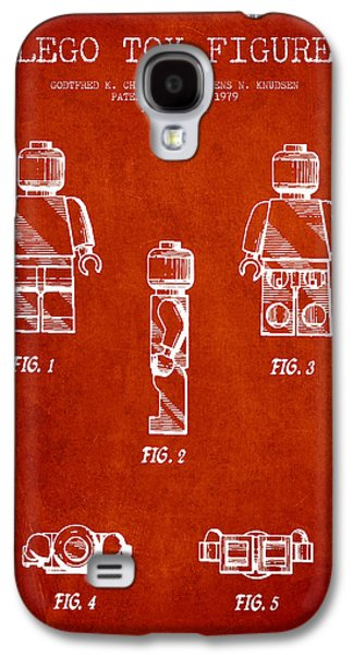 Lego Digital Art Galaxy S4 Cases - Lego Toy Figure Patent - Red Galaxy S4 Case by Aged Pixel