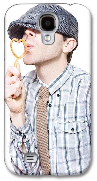 First Love Galaxy S4 Cases - Little Boy Flirting With Heart Shape Bubble Blower Galaxy S4 Case by Ryan Jorgensen