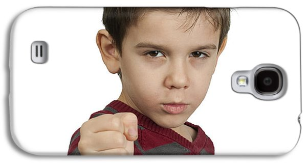 Concept Photographs Galaxy S4 Cases - Little boy threatens with a fist to fight Galaxy S4 Case by Deyan Georgiev