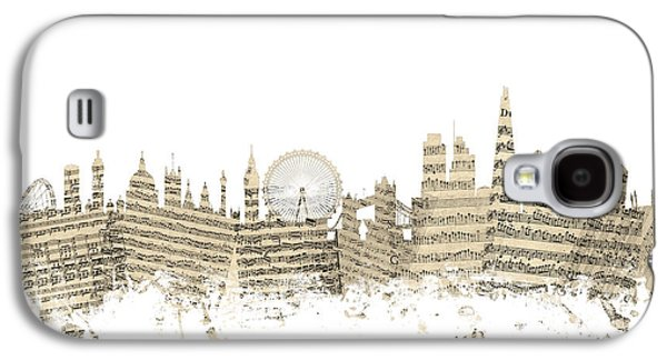 London England Skyline Sheet Music Cityscape Galaxy S4 Case by Michael Tompsett