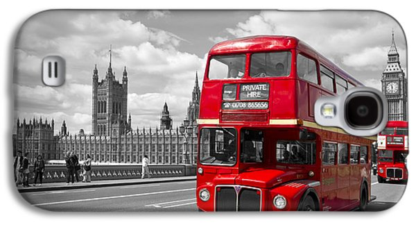Facade Galaxy S4 Cases - London - Houses of Parliament and Red Buses Galaxy S4 Case by Melanie Viola