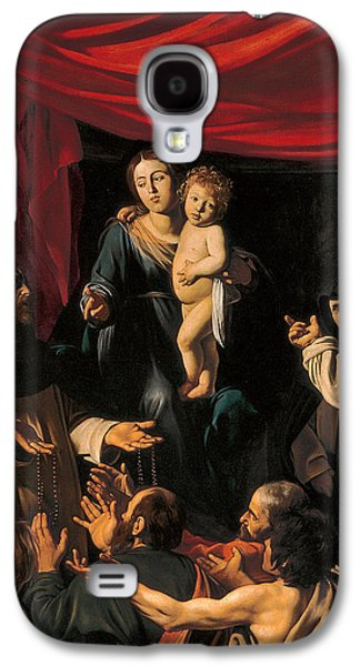 Child Jesus Paintings Galaxy S4 Cases - Madonna of the Rosary Galaxy S4 Case by Caravaggio