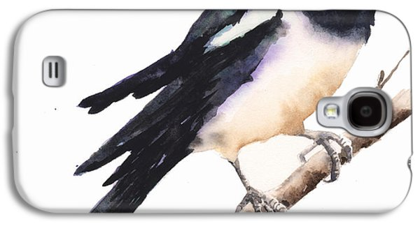 Magpie Painting Galaxy S4 Case by Alison Fennell