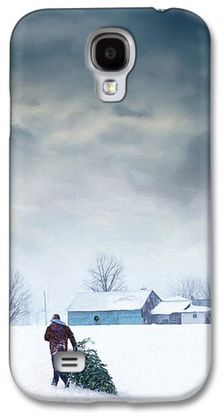 Rural Scenes Digital Galaxy S4 Cases - Man carrying tree for Christmas/digital painting Galaxy S4 Case by Sandra Cunningham
