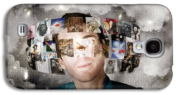 Man Streaming Media With Cloud Server Informatics Galaxy S4 Case by Jorgo Photography - Wall Art Gallery