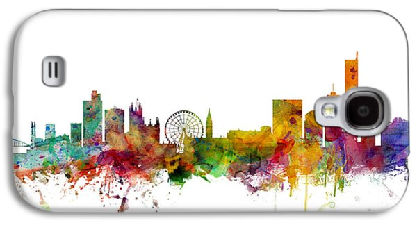 Great Britain Galaxy S4 Cases - Manchester England Skyline Galaxy S4 Case by Michael Tompsett
