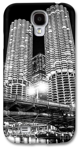 Marina City Towers At Night Black And White Picture Galaxy S4 Case by Paul Velgos