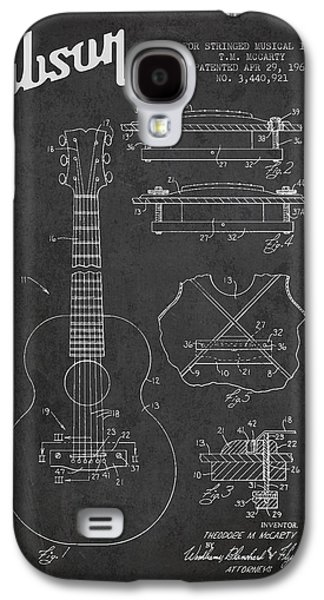 Technical Digital Art Galaxy S4 Cases - Mccarty Gibson stringed instrument patent Drawing from 1969 - Dark Galaxy S4 Case by Aged Pixel