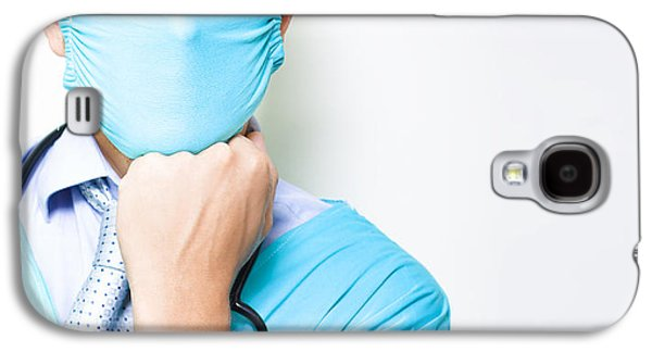 Chin Up Galaxy S4 Cases - MD or medical doctor thinking with hand to face Galaxy S4 Case by Ryan Jorgensen
