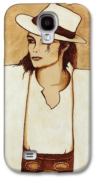 Michael Jackson Paintings Galaxy S4 Cases - Michael Jackson original coffee painting Galaxy S4 Case by Georgeta  Blanaru