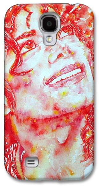 Bad Drawing Galaxy S4 Cases - MICHAEL JACKSON - watercolor portrait.2 Galaxy S4 Case by Fabrizio Cassetta
