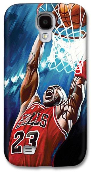Nba Mixed Media Galaxy S4 Cases - Michael Jordan Artwork Galaxy S4 Case by Sheraz A