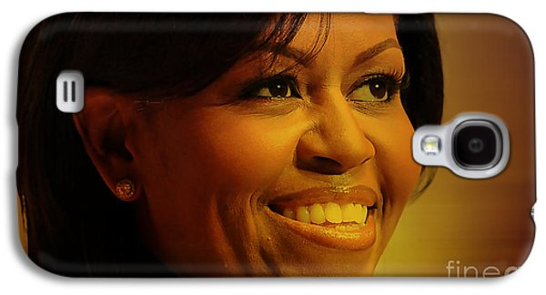 Press Conference Photographs Mixed Media Galaxy S4 Cases - Michelle Obama Galaxy S4 Case by Marvin Blaine