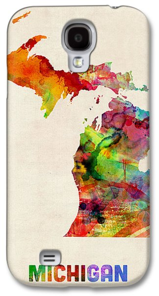 Geography Galaxy S4 Cases - Michigan Watercolor Map Galaxy S4 Case by Michael Tompsett