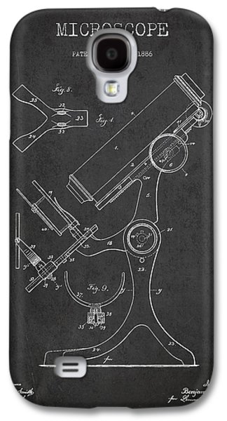 Microscope Galaxy S4 Cases - Microscope Patent Drawing From 1886 - Dark Galaxy S4 Case by Aged Pixel