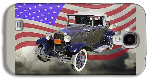 Nostalgia Digital Art Galaxy S4 Cases - Model A Ford Roadster Convertible Antique Car Galaxy S4 Case by Keith Webber Jr