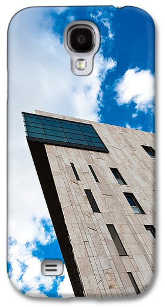 Modern Abstract Pyrography Galaxy S4 Cases - Modern building angle shot against blue sky Galaxy S4 Case by Oliver Sved