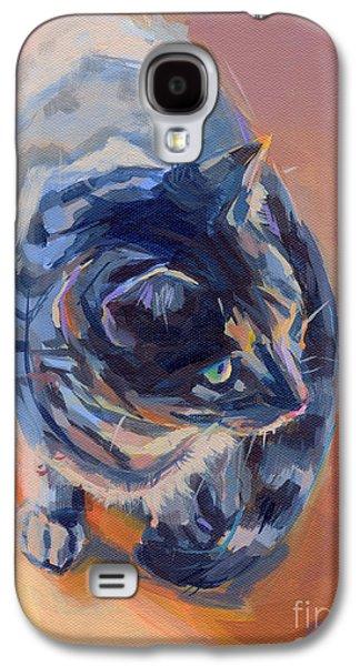 Orange Tabby Paintings Galaxy S4 Cases - Mona Lisa Galaxy S4 Case by Kimberly Santini