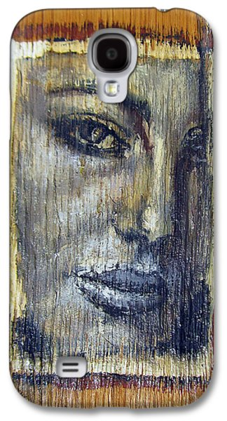 Person Reliefs Galaxy S4 Cases - Mysterious Girl Face Portrait - Painting On The Wood Galaxy S4 Case by Nenad  Cerovic