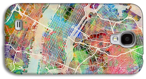 New York Digital Galaxy S4 Cases - New York City Street Map Galaxy S4 Case by Michael Tompsett