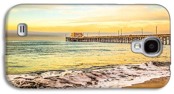 California Beach Art Galaxy S4 Cases - Newport Beach California Pier Panorama Photo Galaxy S4 Case by Paul Velgos